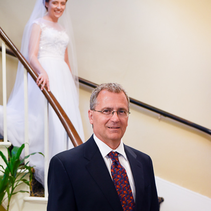 Jeff and Emily Mitchell Robert E. Lee Hotel bride first look with father