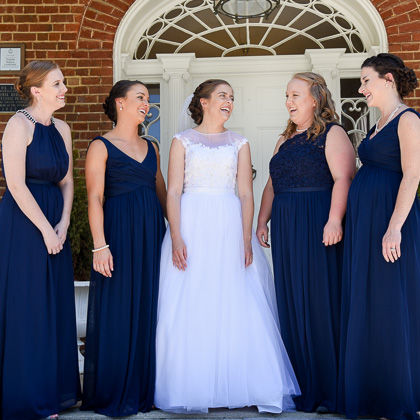 Jeff and Emily Mitchell Robert E. Lee Hotel bride and bridesmaids laughing