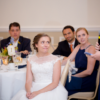Jeff and Emily Mitchell Robert E. Lee Hotel bride listening to toast